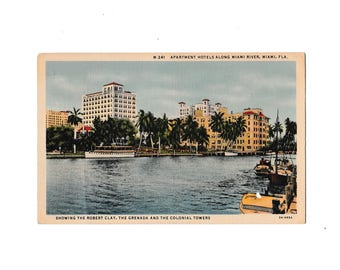 Vintage Postcard Miami Florida Colonial Towers 1937 Used Tropical