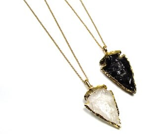 Crystal Quartz Arrowhead Necklace, Black Obsidian Arrowhead Layering Necklace, 14K Gold filled