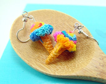 Ice Cream Earrings in Unicorn Rainbow // MADE TO ORDER // Miniature Food Earrings
