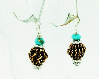 Campitos Turquoise and Copper Coils Earrings