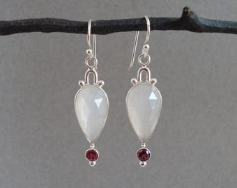Rose Cut White Moonstone and Rubellite Tourmaline Earrings in Sterling Silver, Sparkly Dangle Earrings