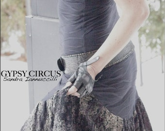 Dress - Steampunk - Burning Man - Gypsy Style - Boho Bohemian - Black Dress - Grey Paisley - Sexy - Boheme - Pixie - Bohemia - Size Small