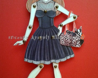 LittleBlackDress Paper Doll - Articulated Paper Doll (already cut and assembled)