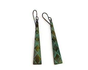 Verdigris Earrings / Geometric Jewelry / Verdigris Patina / Pyramid Earrings / Art Deco Jewelry