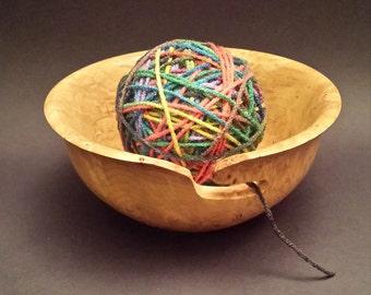 Beautiful Hand Turned Solid Maple Burl Wood Yarn Bowl Crochet Knitting Cross Stich  #2120