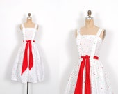 Vintage 1950s Dress / 50s Polka Dot Linen Sundress / White and Red ( small S )