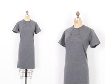 Vintage 1960's Dress / 60s Wool Knit Shift Dress / Grey ( M L )