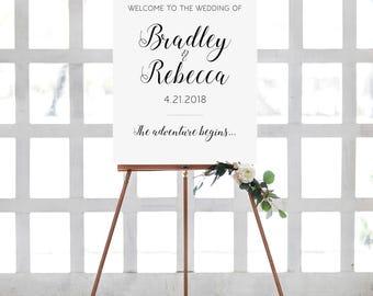 Welcome Wedding Sign Printable, Wedding Welcome Sign, Personalized Wedding Sign, Large Welcome to The Wedding Of Sign, Alejandra