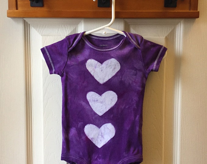 Valentine's Day Bodysuit, Purple Hearts Baby Bodysuit, Purple Baby Bodysuit, Purple Baby Gift, Baby Valentine's Day (9 months)
