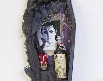 Coffin Shadow Box - Dracula Shadow Box - Vampire Wall Art - Gothic Home Decor - Dark Art - Halloween Art