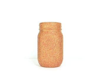 Red and Gold Blend Glittered Pint Mason Jar, Flower Vase, Wedding Decoration, Makeup Brush Holder, Pen and Pencil Holder