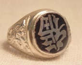 Vintage Sterling Black Enamel Ring Sterling Ring Chinese Export Ring Sterling Chinese Ring Sz 9 Ring RAC