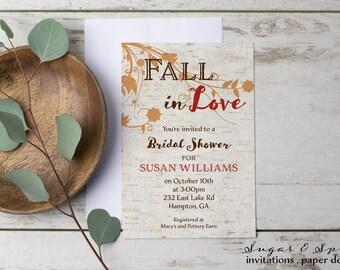 fall bridal shower invitation rustic bridal shower invitation fall in love bridal shower invitation