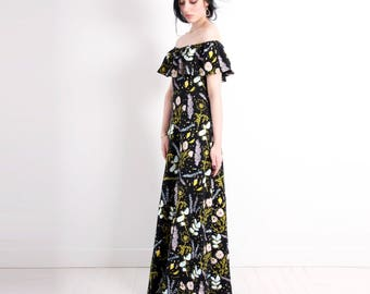 Black 'Desert Floral' Maxi Dress - Organic - Flutter Top - Summer Wedding - Slow Fashion - Off The Shoulder - Slow Fashion - Thief&Bandit®