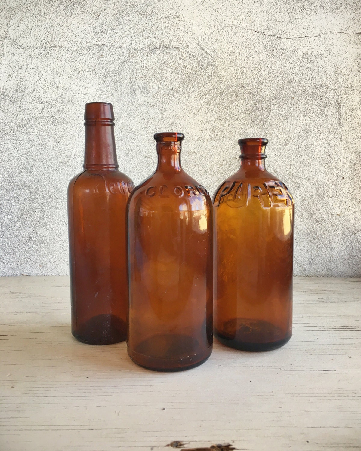 Apothecary Amber Cut Glass Bottles