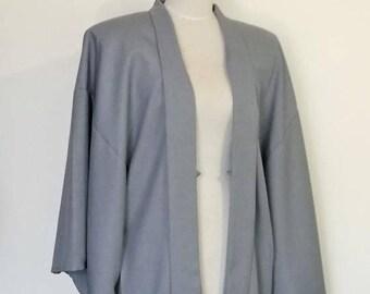 Men's KIMONO jacket HAORI silver gray SAMURAI style Large ready to ship