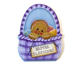 Ginger in Easter Basket Ornament or Fridge Magnet, Handpainted Wood Gingerbread Refrigerator Magnet, Easter Decor, Tole Decorative Painting