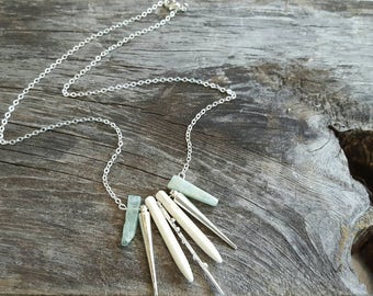 Howlite Spike Necklace Aquamarine Jewelry Spike Pendant Statement Necklace Dynamo Modern Jewelry Gemstone Necklace Modern Necklace