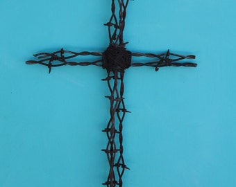 rusted barbed wire cross Christain wall decor handmade