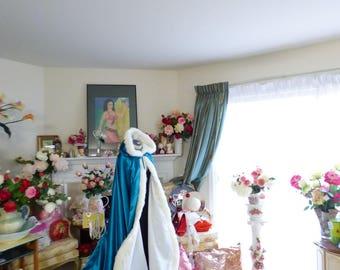 Princess Jasmine Inspired Bridal Cape Teal / Ivory Satin  52/67 inch Reversible wedding cloak Hooded with fur trim Handmade in USA