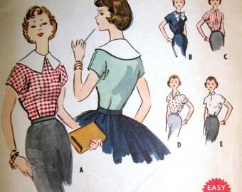 Vintage 1950s Blouse Pattern McCalls Juniors Bust 33 Waist 27 Hip 36