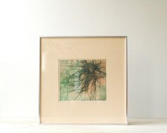 Vintage Abstract Print, Artist Proof Original Print