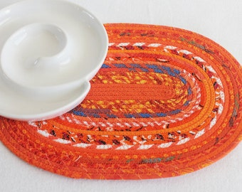 Fabric Coiled Mat / Coiled Rope Mat / Placemat / Hot Pad / Trivet / Orange Bohemian Oval Coiled Mat by PrairieThreads