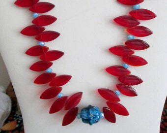 Wild Goddess Diva Choker - Stunning and Sexy - Red Czech Glass Fans - Red Swarovski Crystals - Teal Faceted Czech Crystals - Classy Chic