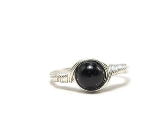 Black Tourmaline Ring Argentium Sterling Silver Wire Wrapped Ring