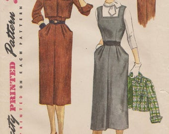 Simplicity 3663 / Vintage 1950s Sewing Pattern / Dress Jumper Jacket / Size 16 Bust 34