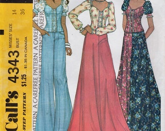 McCalls 4343 / Vintage 70s Sewing Pattern / Skirt And Blouse / Size 14 Bust 36
