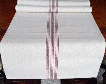Grain Sack Table Runner 9 Red Stripe