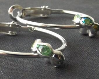 green crystal silver hoop earrings bead women jewelry fashion accessories plated metal dangle modern simple minimalist feminine classic chic