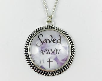 Salvation Date - Custom Necklace or Key Chain on Purple and White Floral Background - Available in 5 Finishes