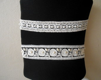 Beaded lace Sash belt, Bridal Accessory Hand Embroidery lace Sash