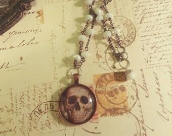 Vintage Photo Print Pendant Anatomy Skull Necklace Assemblage