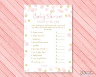 Price is right baby shower game etsy for Free printable price is right baby shower game template