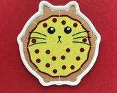 Pizza Cat Patch - Iron on Cat Patch - Sew on Patch - Embroidered Patch - Woven Cloth Patch - Fat Kitty - Funny Cat - Large Cat Patch