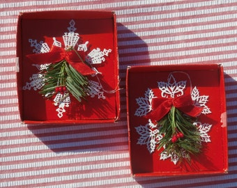 Pair of Lacy Filigree White Metal Snowflake Ornaments, Vintage Christmas Decorations