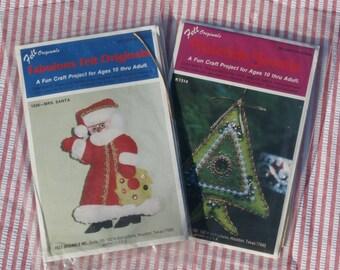 Felt Originals Yuletides Jewels Christmas Tree and Mrs. Santa Claus Felt Craft Ornament Kits, lot of 2