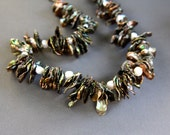 Huge Iridescent Cornflake Pearl Necklace Silvery Grey Keishi Pearls with Olive Green Highlights Gemstone Jewelry