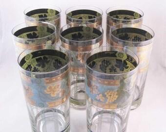 Cera Golden Grapes Green Highball Drinking Glasses (8) Mid Century Modern