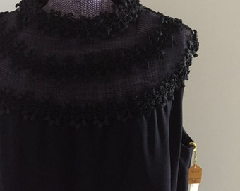 Vintage 1960s Black Shift Dress - NOS Deadstock with tags