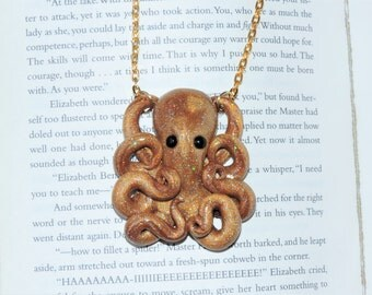 super fine glitter gold fun time octopus necklace. glittering gold. shimmer and shine.