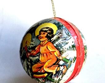 Vintage West German Paper Mache Ornament, Paper Mache Angel Christmas Ornament Candy Holder, West German Angel Ornament, Vintage Paper Mache