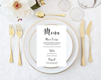 Wedding Menus 5x7- Shower Menus-Dinner Party Menus