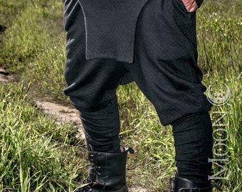 "NEW Men's ""Rogue"" Harem Styled Apron Pants in Black Diamond Stitched Knit by Opal Moon Designs (Sizes S -XL)"
