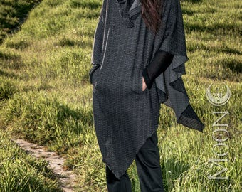 NEW The Sweater Knit Hooded Poncho with Pocket in Black Texture by Opal Moon Designs (Unisex Free Size 1 or 2)