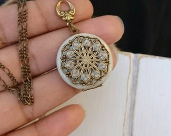 Tiny Vintage Style Locket Necklace - Vintage Antique brass filigree locket.