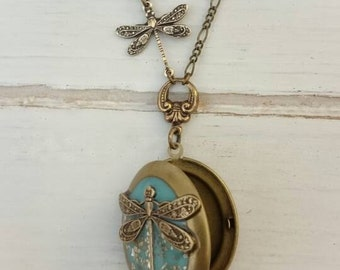 Dragonfly locket Necklace - Vintage Antique Brass ox Dragonfly Necklace.